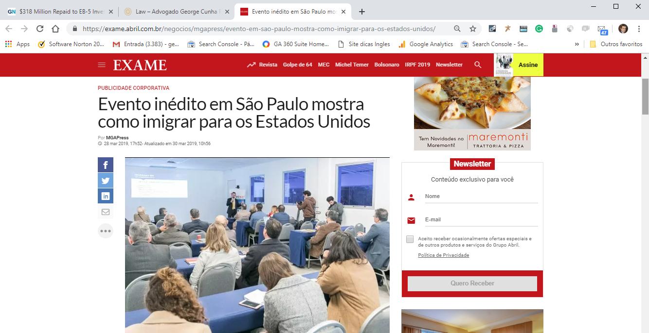Visto EB5 Revista Exame Advocacia Internacional George Cunha