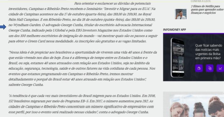 Visto EB5 George Cunha Infomoney
