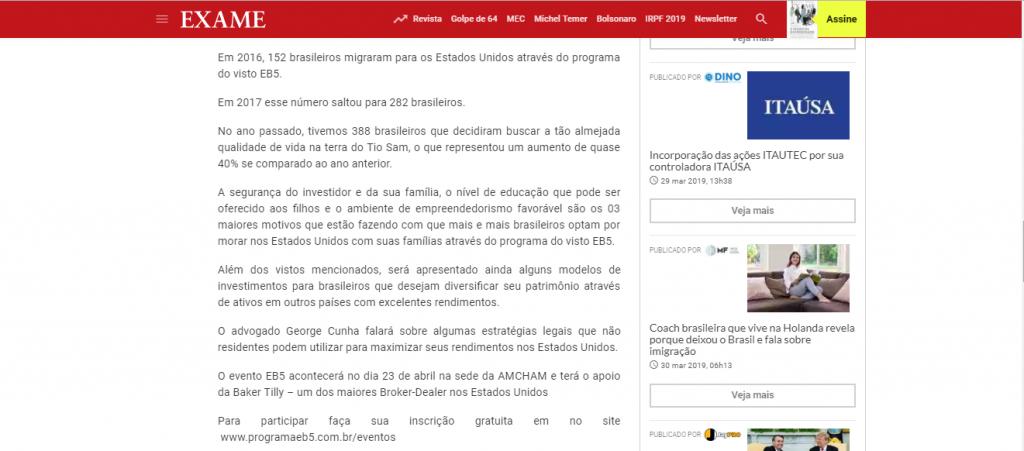 Visto EB5 Revista Exame